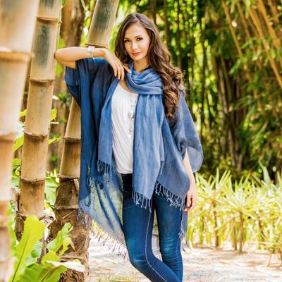 Cotton jacket and scarf set, 'Midnight Blue Mystique' - Midnight Blue Cotton Thai Jacket with Light Blue Scarf Set