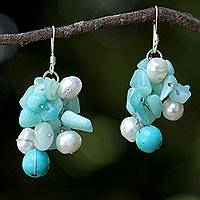 Quartz and cultured pearl earrings, 'Phuket Beach' - Beaded Cultured Pearl and Blue Quartz Earrings