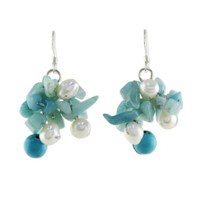 Beaded Cultured Pearl and Blue Quartz Earrings
