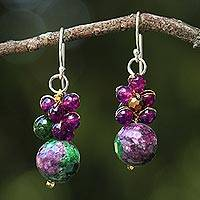 Quartz beaded earrings, 'Luscious Fruit'