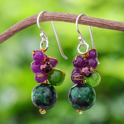 Novica Quartz beaded earrings, Luscious Fruit