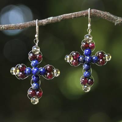 Lapis lazuli and garnet dangle earrings, 'Cross of Hope' - Garnet and Lapis Lazuli Cross Earrings from Thailand