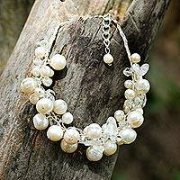 Cultured pearl beaded bracelet, 'Pure Snow'