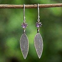 Amethyst dangle earrings, 'Purple Leaves' - Karen Silver and Amethyst Leaf Dangle Earrings from Thailand