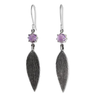 Amethyst dangle earrings, 'Purple Leaves' - Karen Silver and Amethyst Leaf Dangle Earrings from Thailand