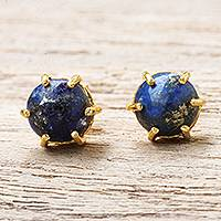 Gold plated lapis lazuli stud earrings, 'Thai Buds in Blue'