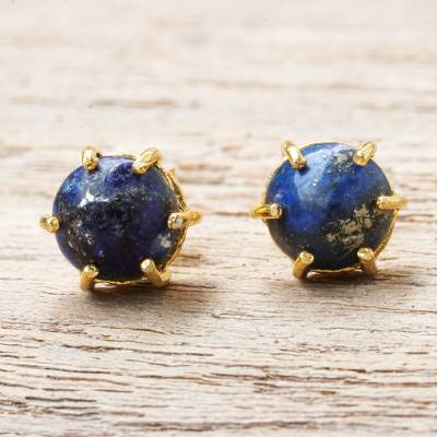 Gold Plated Lapis Lazuli Stud Earrings Thai Buds In Blue