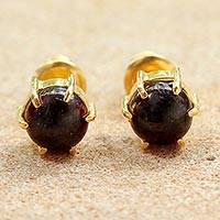 Gold plated garnet stud earrings, 'Thai Buds' - Gold Plated Garnet Stud Earrings from Thailand