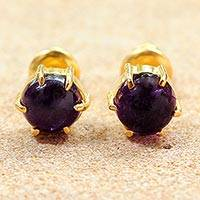 Gold plated amethyst stud earrings, 'Thai Buds'