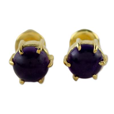 Gold plated amethyst stud earrings, 'Thai Buds' - Gold Plated Amethyst Stud Earrings from Thailand