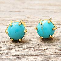 Gold plated sterling silver stud earrings, 'Thai Buds'