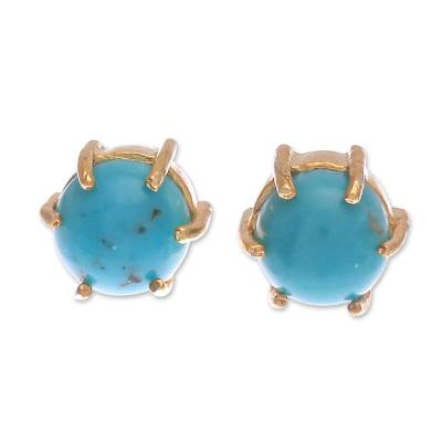 Gold Plated Sterling Silver Stud Earrings from Thailand