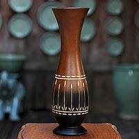 Mango wood decorative vase, 'Thai Flower Field' - Decorative Brown and Black Thai Mango Wood Vase