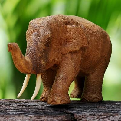 Teak wood sculpture, 'Elephant Gait' - Hand Carved Thai Rustic Teak Wood Sculpture of an Elephant