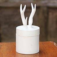 Wood decorative box, 'Antlers' - Hand Crafted White Decorative Box with Antlers from Thailand