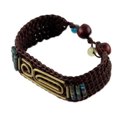 Brass pendant wristband bracelet, 'Siam Fortress' - Brown Brass and Reconstituted Turquoise Wristband Bracelet