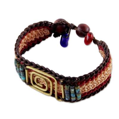 Brass pendant wristband bracelet, 'Siam Maze' - Beige and Red Brass and Reconstituted Turquoise Bracelet