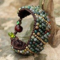 Jasper beaded wristband bracelet, 'Thai Smile'