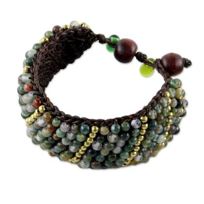 Jasper beaded wristband bracelet, 'Thai Smile' - Jasper and Brass Beaded Wristband Bracelet from Thailand