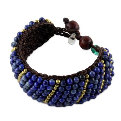 Lapis lazuli beaded wristband bracelet, 'Thai Smile' - Lapis Lazuli and Brass Beaded Bracelet from Thailand
