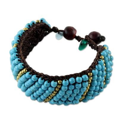 Beaded wristband bracelet, 'Thai Smile' - Calcite and Brass Beaded Wristband Bracelet from Thailand
