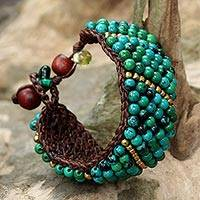 Serpentine beaded wristband bracelet, 'Thai Smile' - Serpentine and Brass Beaded Wristband Bracelet from Thailand