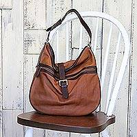 Leather hobo handbag, 'Sepia Journey' - Leather Hobo Handbag in Sepia and Burnt Sienna from Thailand