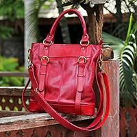 Leather shoulder bag, 'Crimson Fashion' - Adjustable Leather Shoulder Bag in Crimson from Thailand