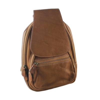 Handcrafted Leather Backpack in Chestnut from Thailand