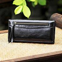 Leather clutch, 'Touch of Love in Black' - Handcrafted Leather Clutch in Black from Thailand