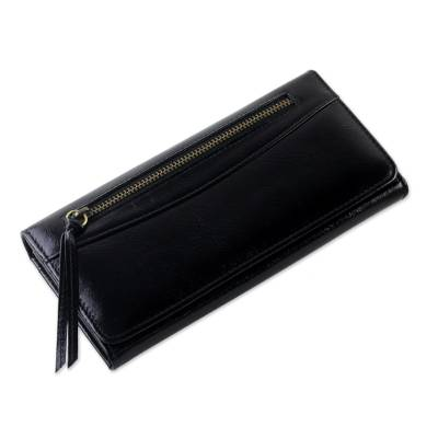 Handcrafted Leather Clutch in Black from Thailand
