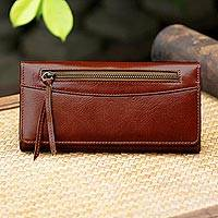 Leather clutch, 'Touch of Love in Rust' - Handcrafted Leather Clutch in Rust from Thailand