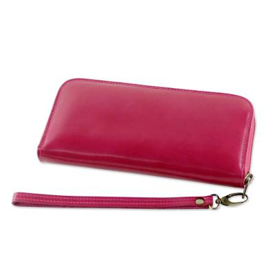 Handcrafted Leather Wristlet in Cerise from Thailand