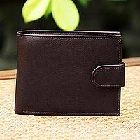 Leather wallet, 'Everyday Traveler in  Espresso' - Handcrafted Leather Wallet in Espresso from Thailand