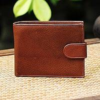 Leather wallet, 'Everyday Traveler in Nutmeg' - Handcrafted Leather Wallet in Nutmeg from Thailand