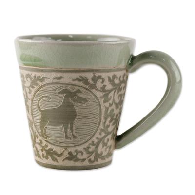 Celadon Glazed Ceramic Mug with Dog from Thailand