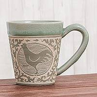Celadon ceramic mug, 'Thai Zodiac Chicken' - Celadon Glazed Ceramic Mug with Chicken from Thailand