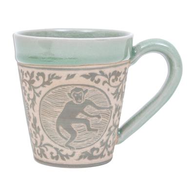Celadon Glazed Ceramic Mug with Monkey from Thailand