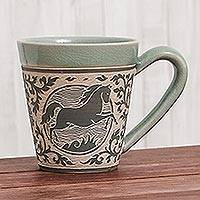 Celadon ceramic mug, 'Thai Zodiac Horse' - Celadon Glazed Ceramic Mug with Horse from Thailand