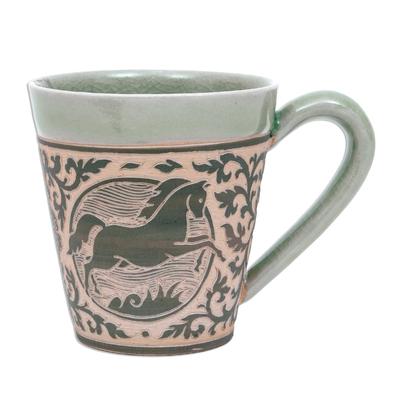 Celadon Glazed Ceramic Mug with Horse from Thailand