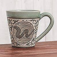 Celadon ceramic mug, 'Thai Zodiac Snake' - Hand Crafted Ceramic Mug with Snake from Thailand