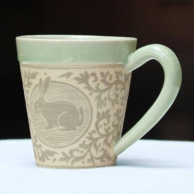 Celadon ceramic mug, 'Thai Zodiac Rabbit' - Celadon Glazed Ceramic Mug with Rabbit from Thailand