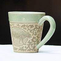 Celadon ceramic mug, 'Thai Zodiac Tiger' - Hand Crafted Ceramic Mug with Tiger from Thailand