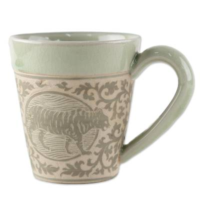 Hand Crafted Ceramic Mug with Tiger from Thailand