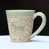 Celadon ceramic mug, 'Thai Zodiac Goat' - Celadon Glazed Ceramic Mug with Goat from Thailand