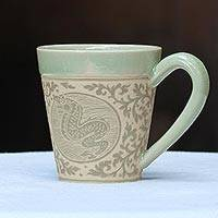 Celadon ceramic mug, 'Thai Zodiac Dragon' - Celadon Glazed Ceramic Mug with Dragon from Thailand
