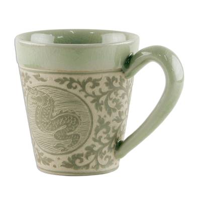 Celadon Glazed Ceramic Mug with Dragon from Thailand