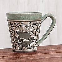 Celadon ceramic mug, 'Thai Zodiac Rat' - Celadon Glazed Ceramic Mug with Rat from Thailand