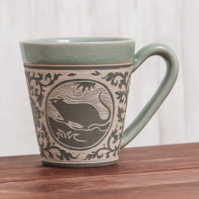 Celadon Glazed Ceramic Mug with Rat from Thailand, 'Thai Zodiac Rat'