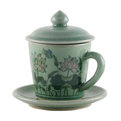 Celadon ceramic cup and saucer u0027Lanna Luxuryu0027 - Celadon Glazed Ceramic Floral Cup  sc 1 st  NOVICA & Celadon Glazed Ceramic Floral Cup and Saucer from Thailand - Lanna ...